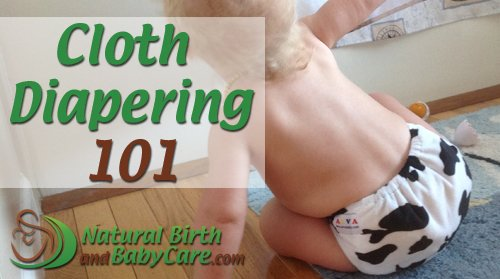 baby wearing a cow print diaper for cloth diapering 101 banner