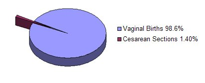 Vaginal Births 98.6%, Cesarean Sections 1.40%