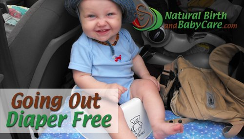 baby sitting on his potty in van after going out diaper free