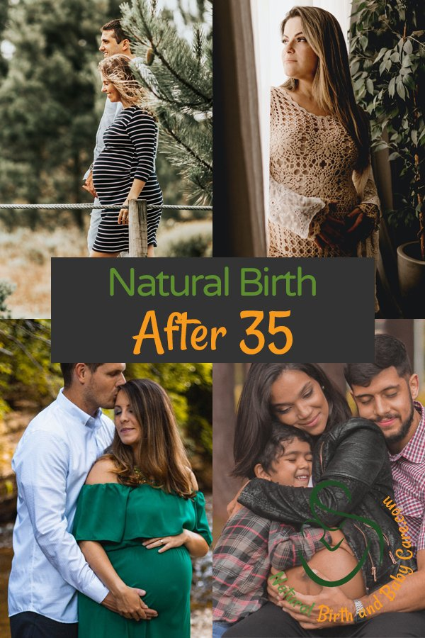Collage of families preparing for natural birth