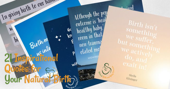 Cards showing quotes for natural birth