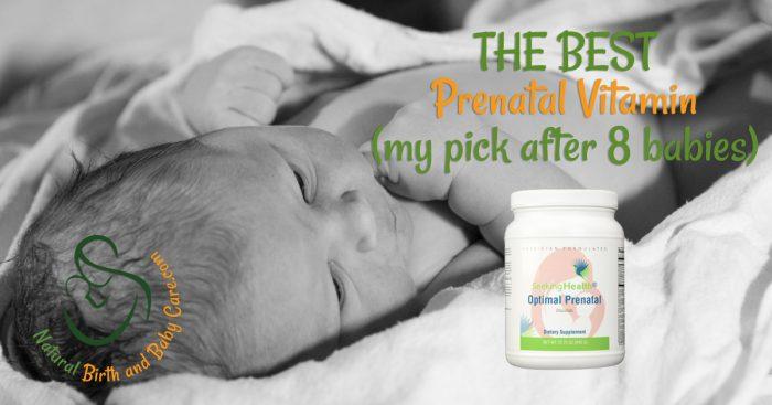 Healthy newborn Phoenix resting on blanket with Optimal Prenatal powder in foreground