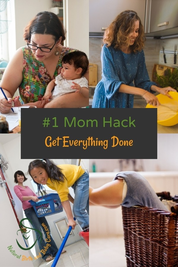 Collage of moms doing housework and office work with babies and kids